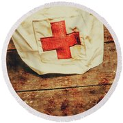 Ww2 Nurse Hat. Army Medical Corps Round Beach Towel by Jorgo Photography - Wall Art Gallery