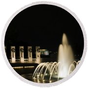 Round Beach Towel featuring the photograph Wwii Memorial Fountain by Angela DeFrias