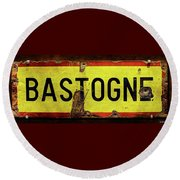 Wwii Bastogne Town Sign Round Beach Towel