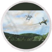 Wwii Dogfight Round Beach Towel