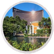 Wynn Casino In The Late Afternoon 2 To 1 Ratio Round Beach Towel by Aloha Art