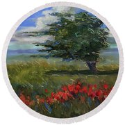 Round Beach Towel featuring the painting Wyoming Gentle Breeze by Billie Colson