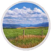 Round Beach Towel featuring the photograph Wyoming Landscape by Sharon Seaward