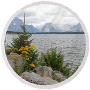 Wyoming Mountains Round Beach Towel by Diane Bohna