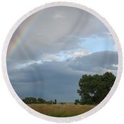 Wyoming Rainbow Round Beach Towel by Diane Bohna