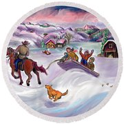 Round Beach Towel featuring the digital art Wyoming Ranch Fun In The Snow by Dawn Senior-Trask