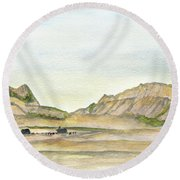 Wyoming Ranch Round Beach Towel by R Kyllo