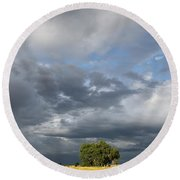 Wyoming Sky Round Beach Towel by Diane Bohna