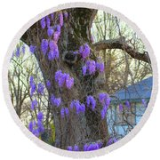 Wysteria Tree Round Beach Towel