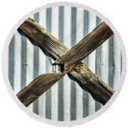 Round Beach Towel featuring the photograph X Marks The Spot by Karol Livote