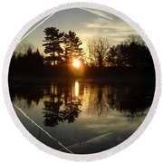 X Marks The Spot Sunrise Reflection Round Beach Towel by Kent Lorentzen