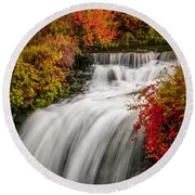 Fall At Minnehaha Falls Round Beach Towel