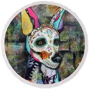 Xolo Mexican Hairless Day Of The Dead Round Beach Towel