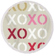 Round Beach Towel featuring the mixed media Xoxo- Art By Linda Woods by Linda Woods