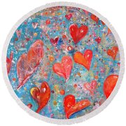 Xoxo Round Beach Towel by Evelina Popilian