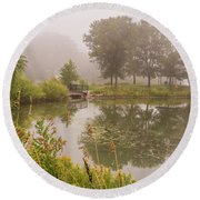 Misty Pond Bridge Reflection #5 Round Beach Towel