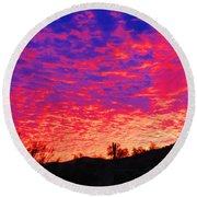 Y Cactus Sunset 1 Round Beach Towel