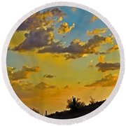 Y Cactus Sunset 10 Round Beach Towel