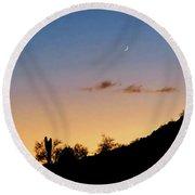 Y Cactus Sunset Moonrise Round Beach Towel