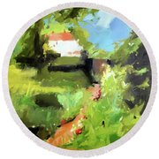 Round Beach Towel featuring the painting y by Chris Gholson