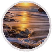 Round Beach Towel featuring the photograph Yachats' Sun by Darren White