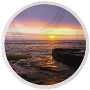 Yachats Sunset Round Beach Towel