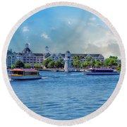Yacht And Beach Club Walt Disney World Round Beach Towel by Thomas Woolworth