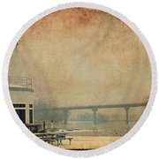 Round Beach Towel featuring the photograph Yacht Club On The Fox by Joel Witmeyer
