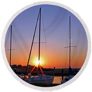 Round Beach Towel featuring the photograph Yacht Club Sunrise by Judy Vincent