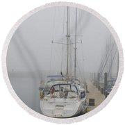Yacht Doesn't Go In The Fog Round Beach Towel