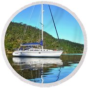 Round Beach Towel featuring the photograph Yacht Reflecting By Kaye Menner by Kaye Menner
