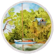 Yacht Weene' In Barnes Bay  Round Beach Towel
