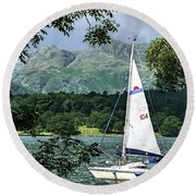 Yachting Lake Windermere Round Beach Towel