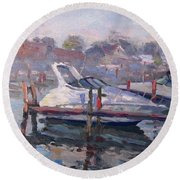 Yachts At The Harbor Round Beach Towel