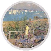 Yachts In Gloucester Harbor Round Beach Towel