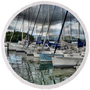 Yachts On Lake Windermere Round Beach Towel