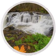 Yacolt Creek Falls In Fall Season Round Beach Towel