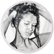 Round Beach Towel featuring the drawing Yaha by Mayhem Mediums