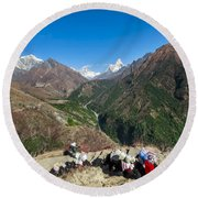 Yaks On The Route To Everest Round Beach Towel