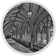 Round Beach Towel featuring the photograph Yale University Cloister Hallway II Bw by Susan Candelario