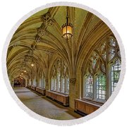 Round Beach Towel featuring the photograph Yale University Cloister Hallway II  by Susan Candelario