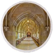 Round Beach Towel featuring the photograph Yale University Cloister Hallway by Susan Candelario