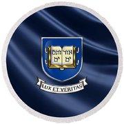 Yale University Coat Of Arms.  Round Beach Towel