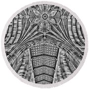 Round Beach Towel featuring the photograph Yale University Sterling Library Bw by Susan Candelario