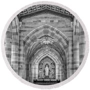 Round Beach Towel featuring the photograph Yale University Sterling Memorial Library Bw  by Susan Candelario