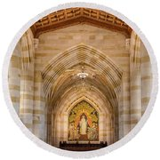 Round Beach Towel featuring the photograph Yale University Sterling Memorial Library by Susan Candelario