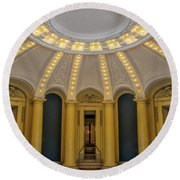 Round Beach Towel featuring the photograph Yale University Woolsey Hall by Susan Candelario