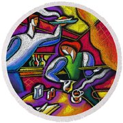 Round Beach Towel featuring the painting  Yam Food And Drink by Leon Zernitsky