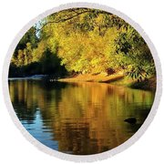Yamhill River Reflections  5811 40x20 Round Beach Towel