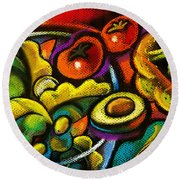 Yammy Salad Round Beach Towel